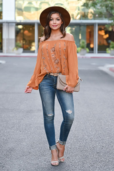 Fall Festival Embroidered Top - Burnt Orange womens trendy bell sleeve off the shoulder fall top closet candy front 2 Model: Hannah Sluss