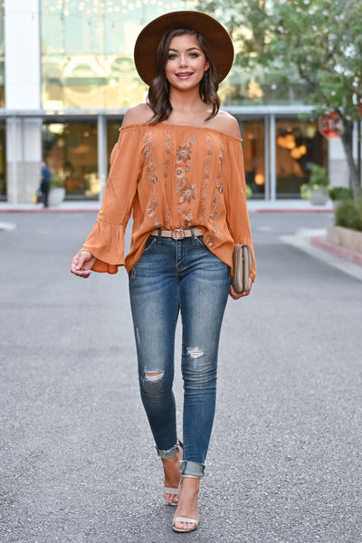 Fall Festival Embroidered Top - Burnt Orange womens trendy bell sleeve off the shoulder fall top closet candy front Model: Hannah Sluss