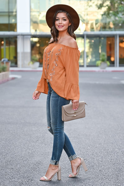 Fall Festival Embroidered Top - Burnt Orange womens trendy bell sleeve off the shoulder fall top closet candy side Model: Hannah Sluss