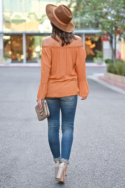 Fall Festival Embroidered Top - Burnt Orange womens trendy bell sleeve off the shoulder fall top closet candy back Model: Hannah Sluss