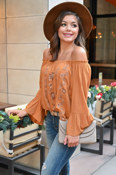 Fall Festival Embroidered Top - Burnt Orange womens trendy bell sleeve off the shoulder fall top closet candy close Model: Hannah Sluss
