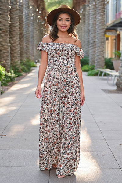 Making Headlines Floral Maxi Dress - Natural womens trendy off the shoulder floral print long dress closet candy front 1; Model: Hannah Sluss