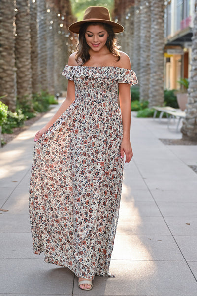 Making Headlines Floral Maxi Dress - Natural womens trendy off the shoulder floral print long dress closet candy front; Model: Hannah Sluss