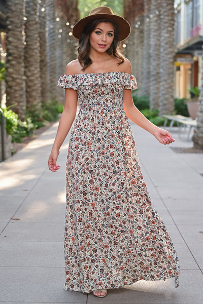 Making Headlines Floral Maxi Dress - Natural womens trendy off the shoulder floral print long dress closet candy front 2; Model: Hannah Sluss