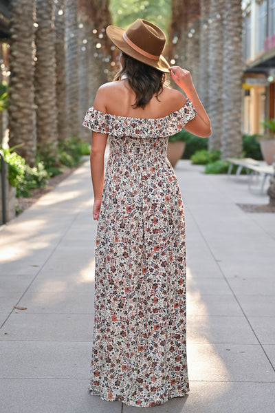 Making Headlines Floral Maxi Dress - Natural womens trendy off the shoulder floral print long dress closet candy side; Model: Hannah Sluss