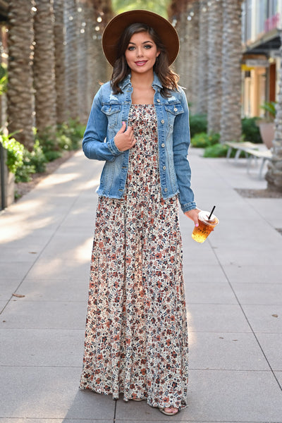 Making Headlines Floral Maxi Dress - Natural womens trendy off the shoulder floral print long dress closet candy with jean jacket; Model: Hannah Sluss