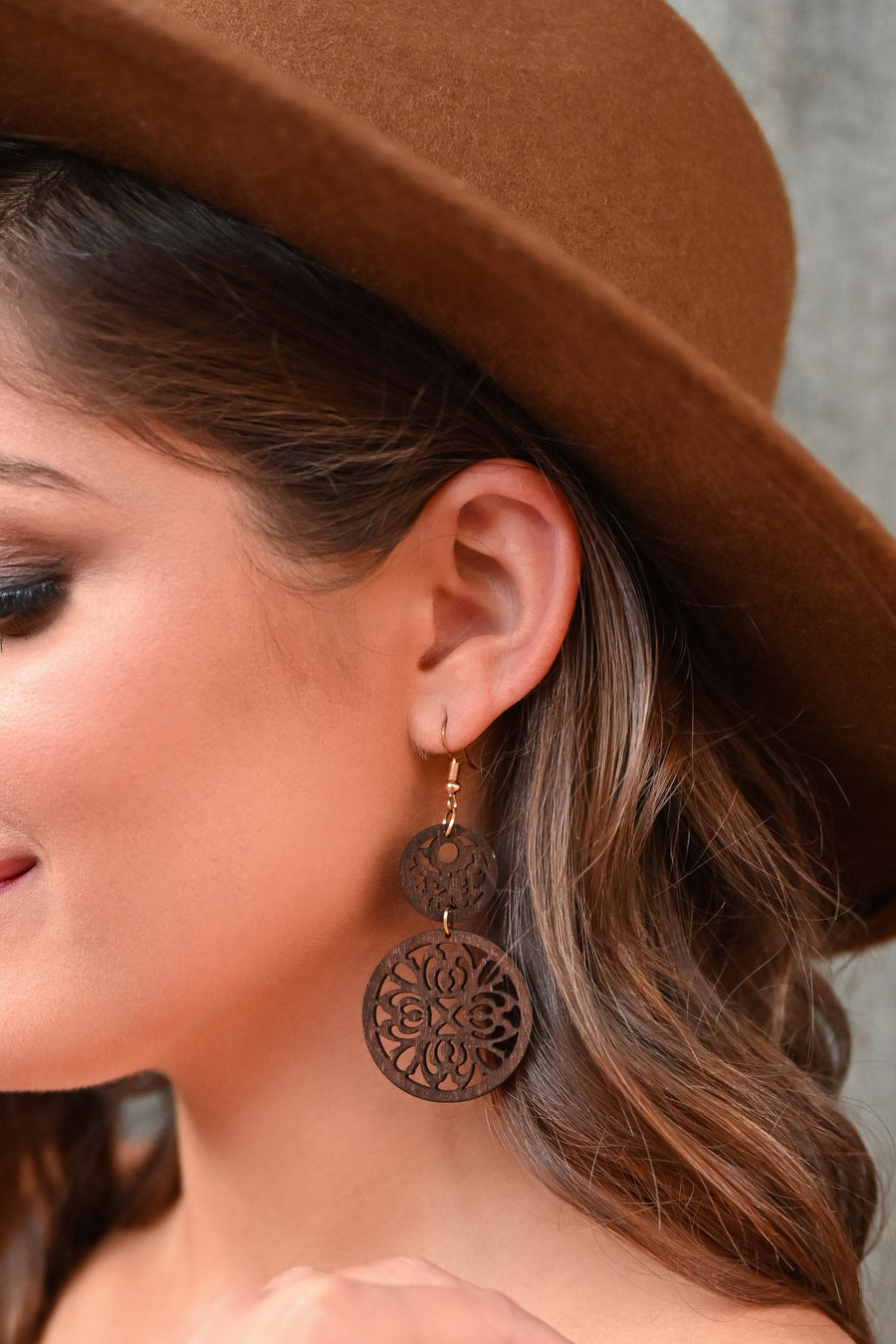 Romance Dangle Earrings - Brown womens trendy filigree lightweight earrings closet candy side; Model: Hannah Sluss