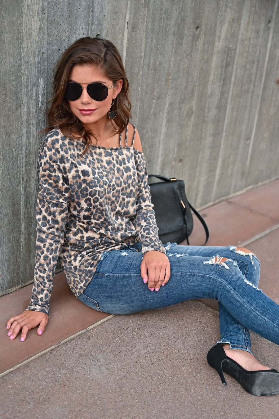 Catching Feelings Long Sleeve Top - Leopard womens trendy leopard print off the shoulder long sleeve closet candy front Model: Hannah Sluss