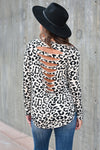 See Me Now Leopard Top - Beige womens trendy long sleeve cut out back detail leopard print top closet candy back; Model: Hannah Sluss
