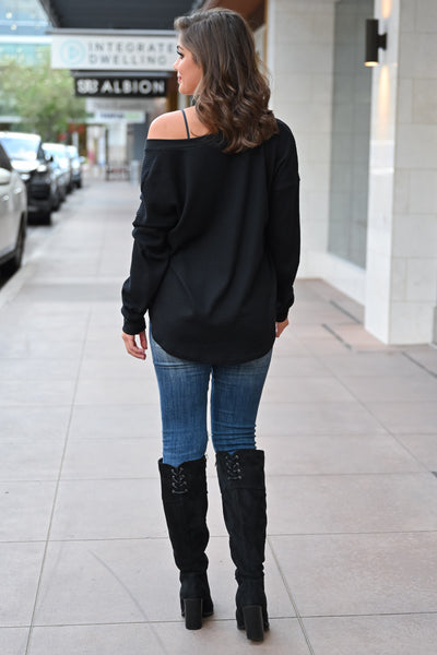 CBRAND It's Your Time Waffle Knit Top - Black womens casual oversized long sleeve knit fall top closet candy front back; Model: Hannah Sluss