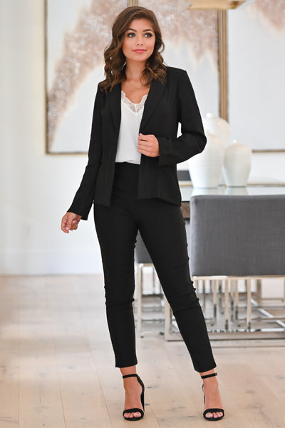 Watch Out World Blazer - Black womens trendy button front long sleeve blazer closet candy full; Model: Hannah Sluss