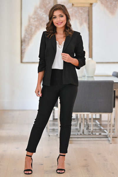 Watch Out World Blazer - Black womens trendy button front long sleeve blazer closet candy full 2; Model: Hannah Sluss