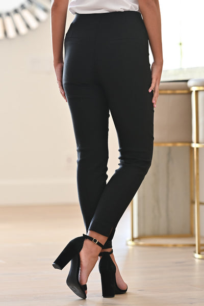 Take Charge Now Pants - Black womens trendy long stretchy work pants close candy back; Model: Hannah Sluss