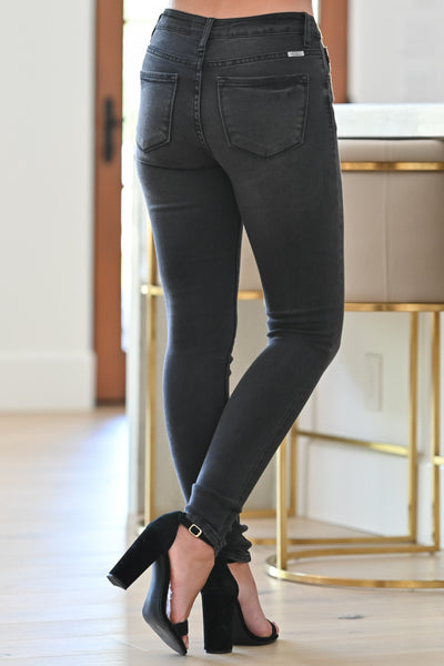 KAN CAN Fiona Skinny Jeans - Faded Black womens trendy faded black wash skinny jeans closet candy close; Model: Hannah Ann S back