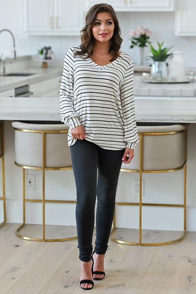 Can't Forget You Striped Top - Ivory womens casual striped print long sleeve top closet candy front