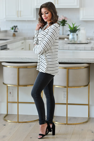 Can't Forget You Striped Top - Ivory womens casual striped print long sleeve top closet candy side
