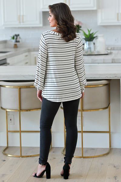 Can't Forget You Striped Top - Ivory womens casual striped print long sleeve top closet candy back