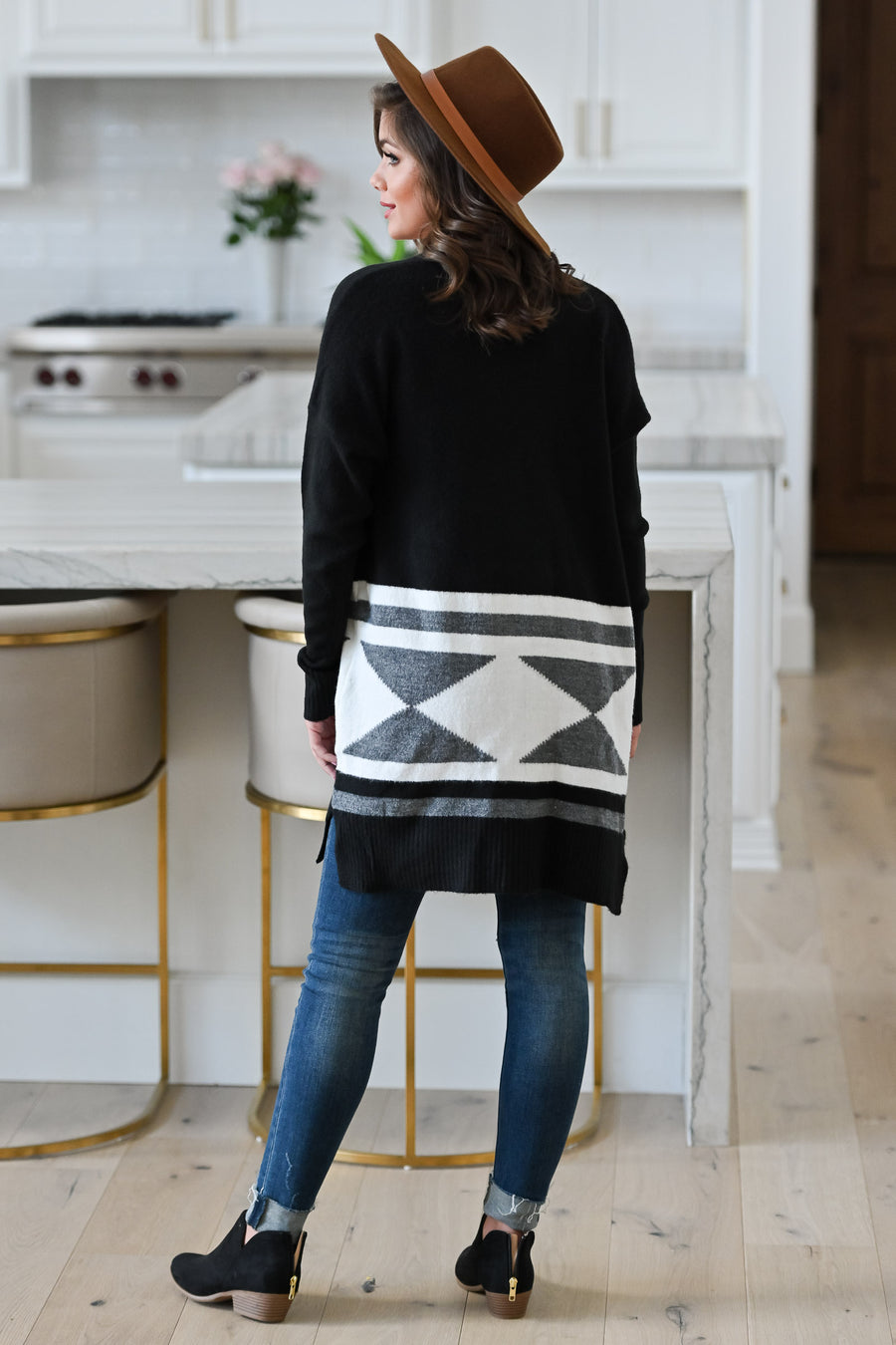 Who You Are Cardigan - Black womens trendy long sleeve oversized geometric print cardigan front 2; Model: Hannah Ann S