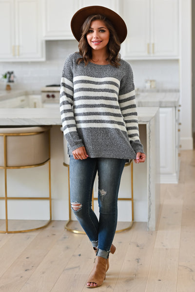 How It Goes Striped Sweater - Heather Grey, Model: Hannah Sluss, Closet Candy Boutique