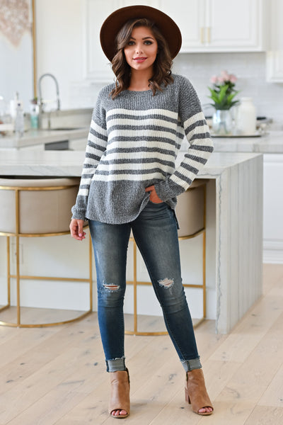 How It Goes Striped Sweater - Heather Grey, Alt Front View Model: Hannah Sluss, Closet Candy Boutique