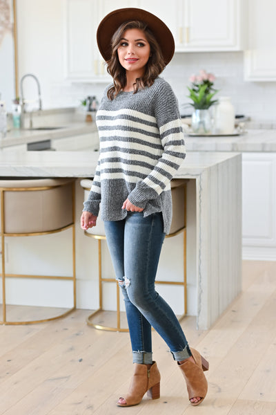 How It Goes Striped Sweater - Heather Grey, Side View Model: Hannah Sluss, Closet Candy Boutique