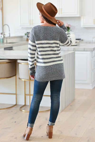 How It Goes Striped Sweater - Heather Grey, Back View Model: Hannah Sluss, Closet Candy Boutique