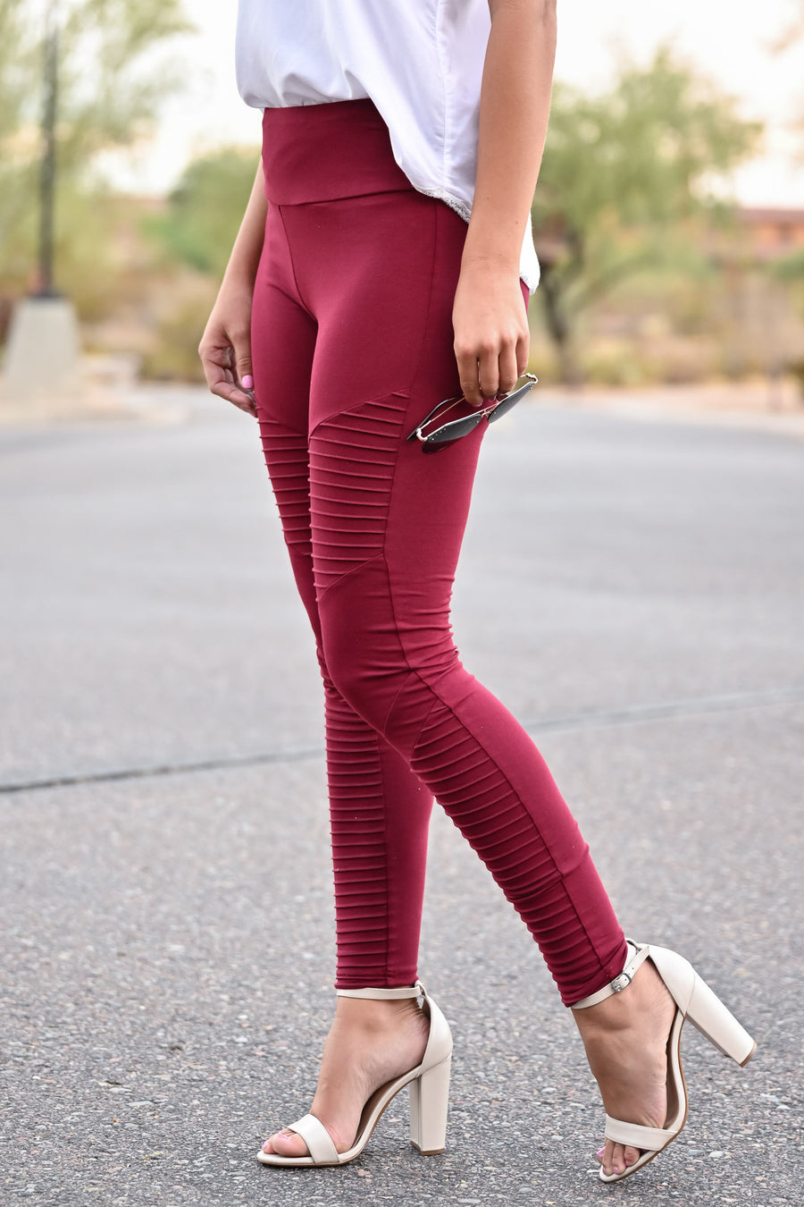 Living On The Edge Moto Leggings - Wine womens trendy high waist comfortable leggings closet candy front