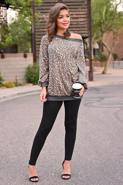 Stick Around Top - Leopard womens trendy off the shoulder long sleeve oversized leopard print top closet candy front; Model: Hannah Ann S
