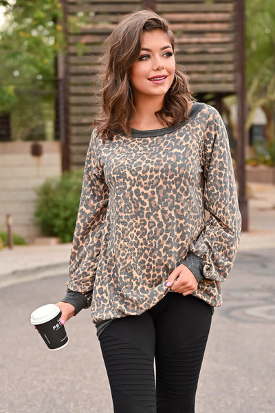 Stick Around Top - Leopard womens trendy off the shoulder long sleeve oversized leopard print top closet candy close; Model: Hannah Ann S