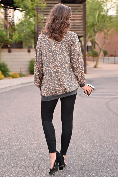 Stick Around Top - Leopard womens trendy off the shoulder long sleeve oversized leopard print top closet candy back; Model: Hannah Ann S