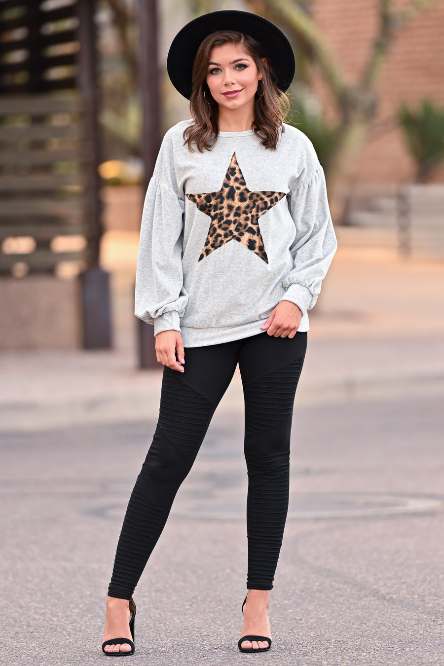 Both Sides Star Top - Grey womens casual velvet long sleeve star leopard print top closet candy close; Model: Hannah Sluss