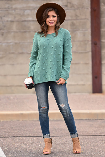 For The Love Knit Sweater - Teal womens trendy oversized textured long sleeve knit sweater closet candy front; Model: Hannah Sluss