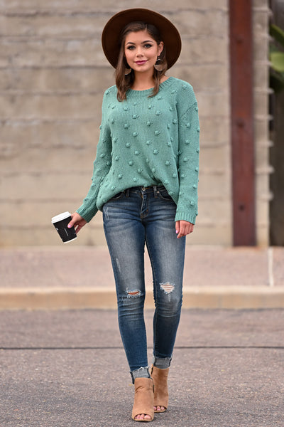 For The Love Knit Sweater - Teal womens trendy oversized textured long sleeve knit sweater closet candy front 2; Model: Hannah Sluss