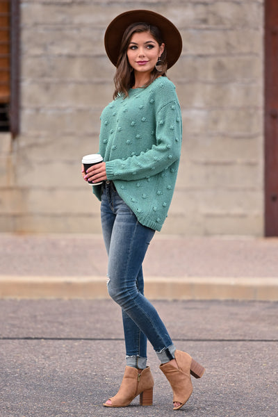 For The Love Knit Sweater - Teal womens trendy oversized textured long sleeve knit sweater closet candy side; Model: Hannah Sluss