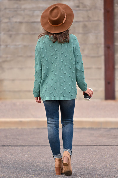 For The Love Knit Sweater - Teal womens trendy oversized textured long sleeve knit sweater closet candy back; Model: Hannah Sluss