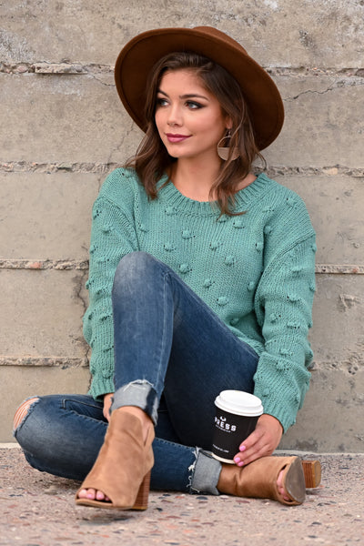 For The Love Knit Sweater - Teal womens trendy oversized textured long sleeve knit sweater closet candy sitting; Model: Hannah Sluss