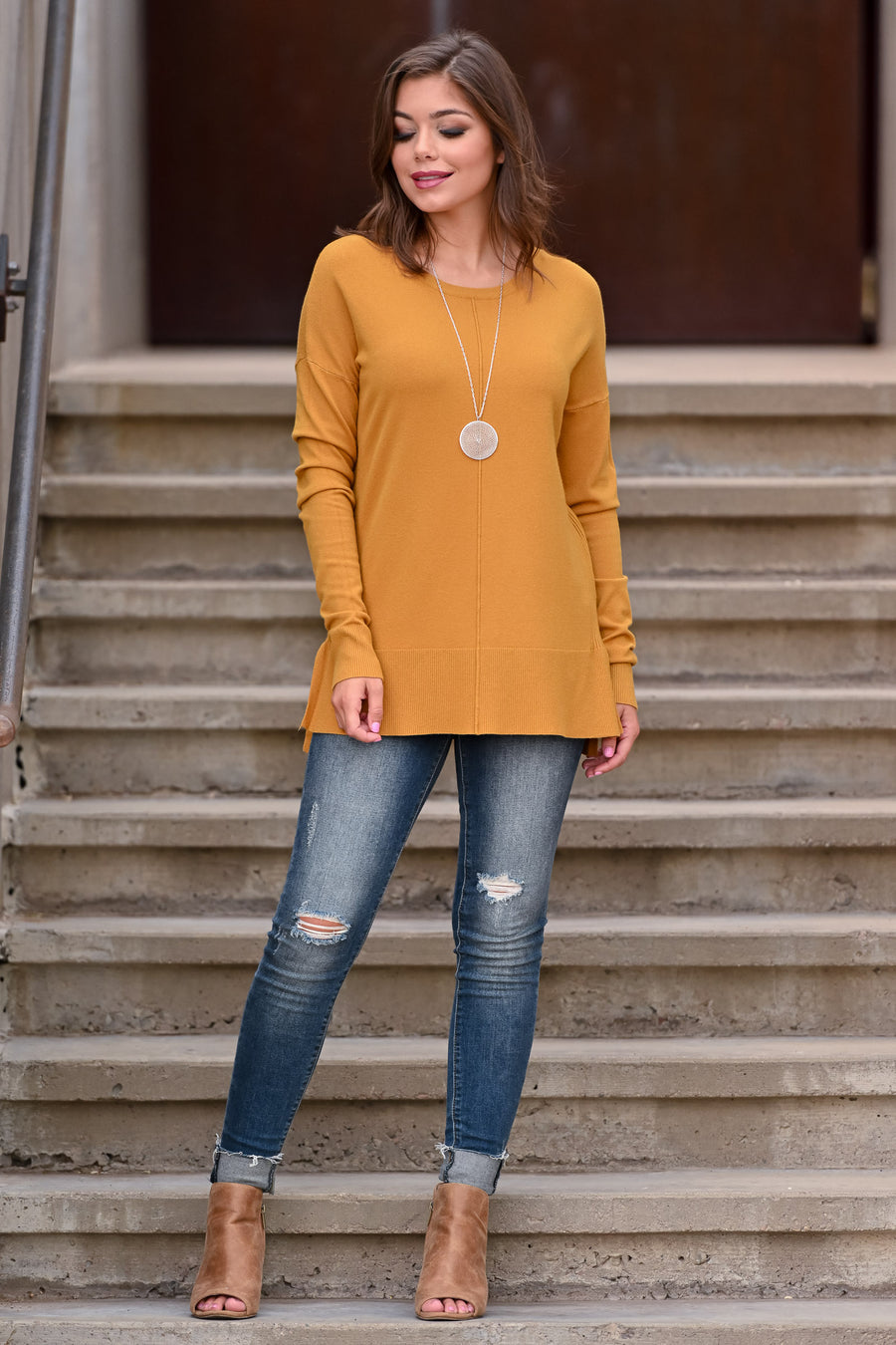 For Good Reason Top - Mustard women's drop shoulder, long sleeve sweater, boat neckline, center seam, ribbed details, hi-low hemline, side slits, soft stretchy material, closet candy; Model: Hannah Ann S
