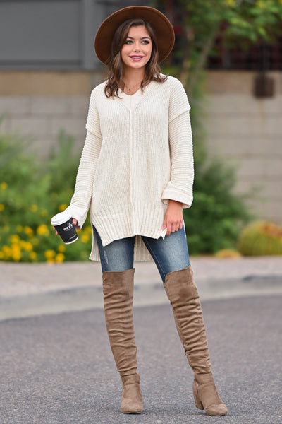 Missing You Today Sweater - Cream womens casual long sleeve cuff detail oversized sweater closet candy front; Model: Hannah Ann S