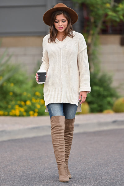 Missing You Today Sweater - Cream womens casual long sleeve cuff detail oversized sweater closet candy front 2; Model: Hannah Ann S