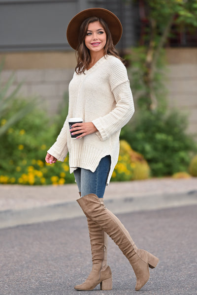 Missing You Today Sweater - Cream womens casual long sleeve cuff detail oversized sweater closet candy side; Model: Hannah Ann S