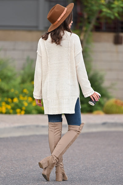 Missing You Today Sweater - Cream womens casual long sleeve cuff detail oversized sweater closet candy back; Model: Hannah Ann S