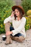 Missing You Today Sweater - Cream womens casual long sleeve cuff detail oversized sweater closet candy sitting; Model: Hannah Ann S