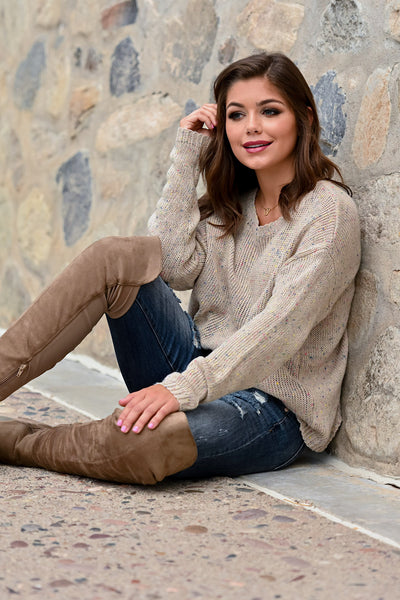 I've Got a Good Reason Sweater - Taupe womens trendy long sleeve ribbed knit speckled sweater closet candy sitting