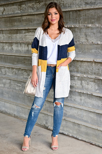 Mixed Emotions Color Block Cardigan - Navy & Mustard womens casual long sleeve speckled detail color block oversized cardigan closet candy front; Model: Hannah Sluss