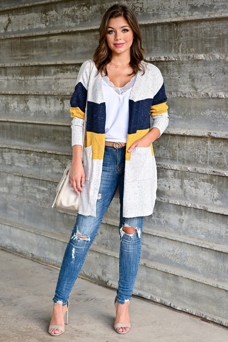 Mixed Emotions Color Block Cardigan - Navy & Mustard womens casual long sleeve speckled detail color block oversized cardigan closet candy side; Model: Hannah Sluss
