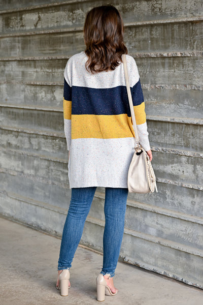 Mixed Emotions Color Block Cardigan - Navy & Mustard womens casual long sleeve speckled detail color block oversized cardigan closet candy back; Model: Hannah Sluss