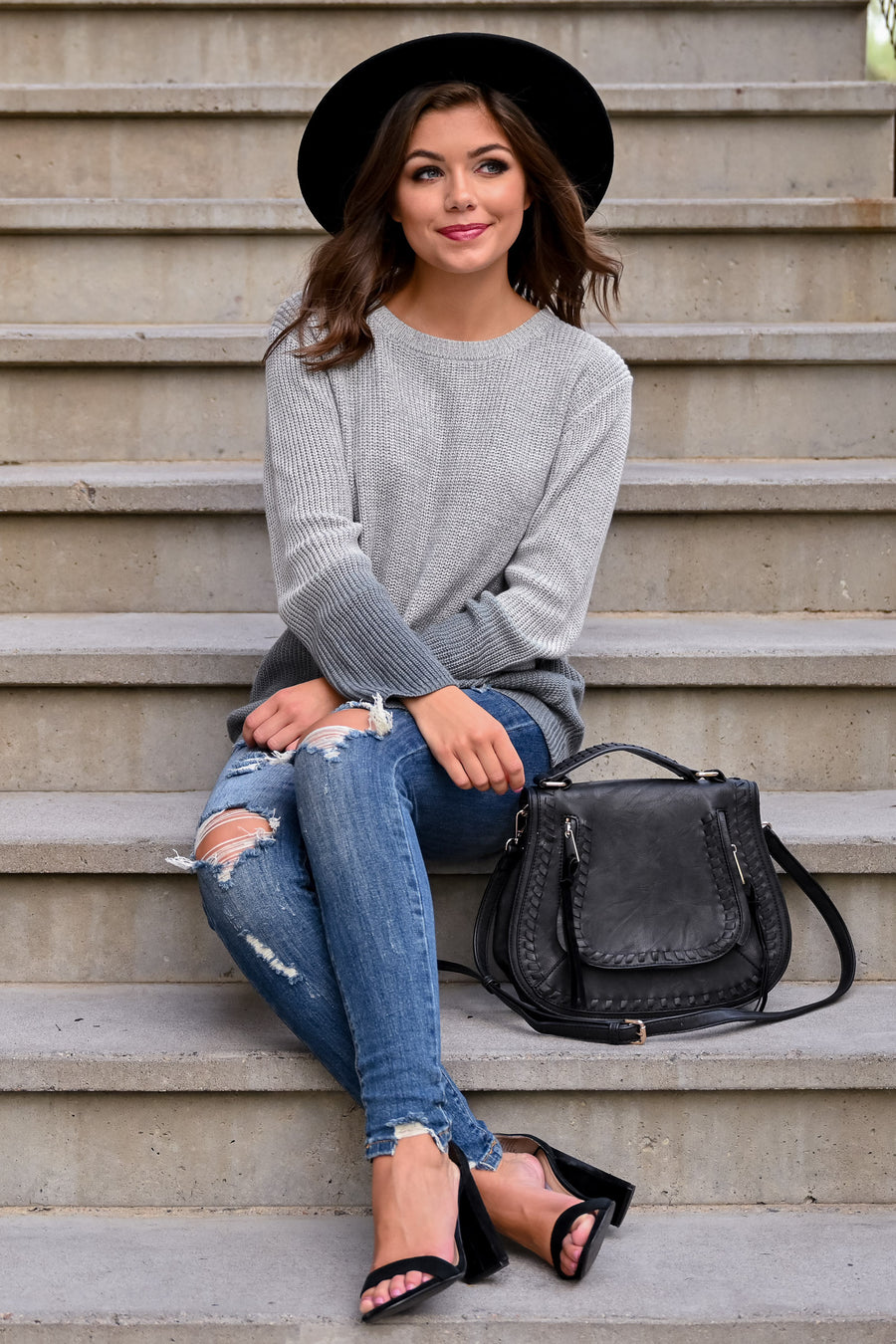 Next Chapter Please Sweater - Grey womens casual dip dye ribbed knit long sleeve sweater closet candy front