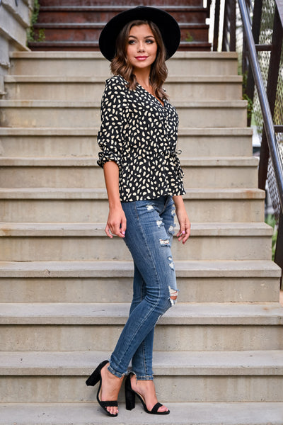 What You Need Top - Black & Ivory womens casual polka dot 3/4 length sleeve top closet candy side 2; Model: Hannah Ann S