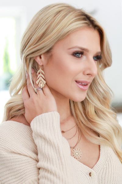 Adeline Layered Earrings - Gold color women's trendy dangling earrings, cute leaf shaped layering, closet candy boutique 2