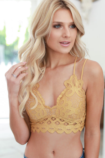 Day Dreamer Bralette - Mustard women's scallop lace beautiful bralette closet candy boutique 3